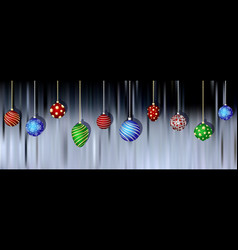 christmas balls hanging on blurred background vector image