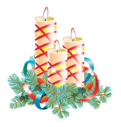 christmas decorative composition of three candles vector image
