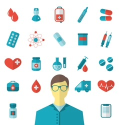 collection trendy flat medical icons isolated on vector image
