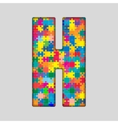 Color Puzzle Piece Jigsaw Letter - H vector