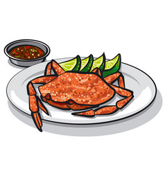 Cooked crab on plate vector