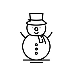 Creating snowman line icon concept sign outline vector