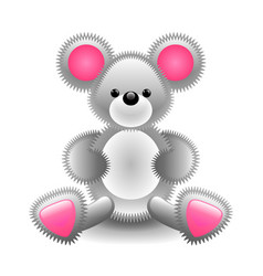 cute gray mouse soft toy isolated on white vector image