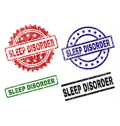 damaged textured sleep disorder seal stamps vector image