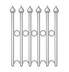 Decorative iron fence icon monochrome vector