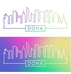Doha skyline colorful linear style editable vector