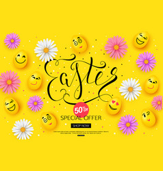easter sale banner design with colorful spring vector image