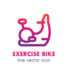 Exercise bike line icon isolated over white vector
