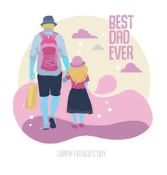 father and daughter walk together vector image