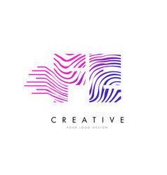 Fe f e zebra lines letter logo design with vector