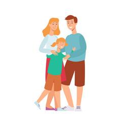 flat adult couple daughter kid hugging vector image