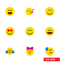 flat icon emoji set of descant cold sweat wonder vector image