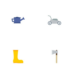 Flat icons rubber boots lawn mower axe and other vector