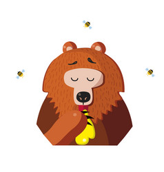 funny bear eat honey from a paw on white vector image