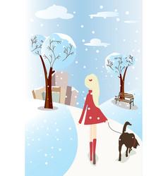 Girl walking her dog vector