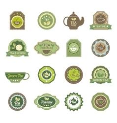 Green tea labels icons set vector