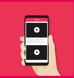 hand holding smartphone with video channel vector image