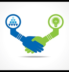 handshake between leadership and teamwork vector image
