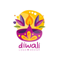 happy diwali logo design festival of lights label vector image