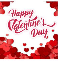 Happy valentine day mini red heart white blackgrou vector