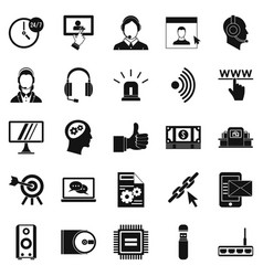 Headphone icons set simple style vector