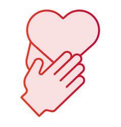heart in hands flat icon care pink icons in vector image