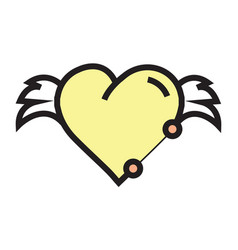Hearts wings pen tool design yellow vector