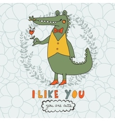 I like you You are cute Beautiful card with hand vector