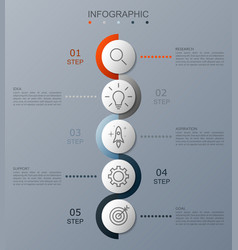 infographic option banner with of 5 step vector image