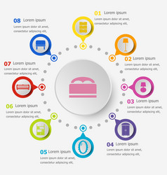 Infographic template with bedroom icons vector