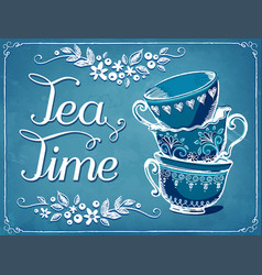 Invitation to tea party retro tea time with vector