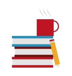 Isolated books mug and pencil design vector image
