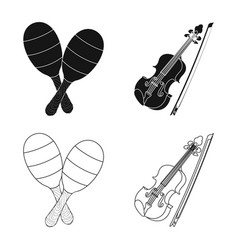 Isolated object of music and tune logo set of vector