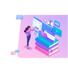 isometric concept young girl uses tablet for vector image