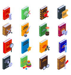 Literary genres icons set isometric style vector