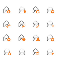 mail and envelope icons set vector image