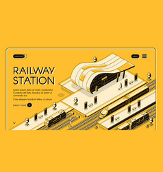modern railway station isometric webpage vector image