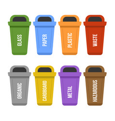 Multicolored recycle standing waste bins for vector