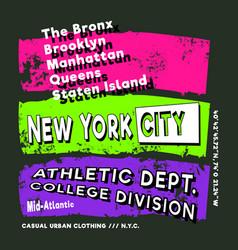 new york city t-shirt print stamp design for label vector image