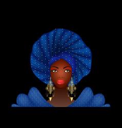 Nigerian headtie portrait african american woman vector