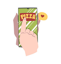 Online pizza ordering hands holding mobile phone vector