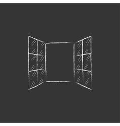 Open windows Drawn in chalk icon vector image