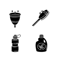 Personal eco products black glyph icons set vector