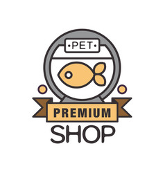 pet shop premium logo template design brown badge vector image