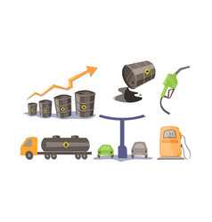 petroleum industry icons set oil production vector image