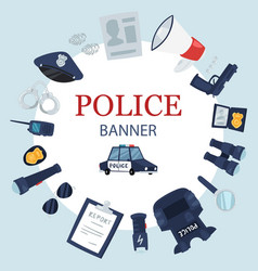 police professional tools and security equipment vector image