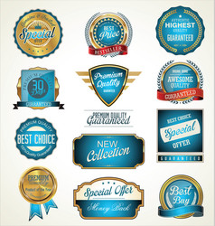quality blue and gold labels vector image