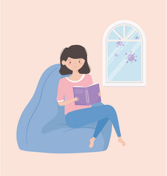 Quarantine stay at home woman reading book on vector