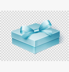 Realistic blue gift box with ribbon design vector