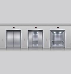 realistic elevators closed open and half closed vector image